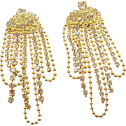 Glistening Shoulder Duster Dangle Clear Rhinestones & Goldtone Metal Pierced Earrings