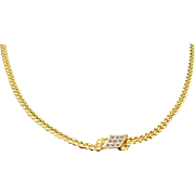 Vintage Anson Goldtone Metal Chain Necklace with Dainty Diamond Shaped Rhinestone Center Accent