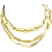 Ornate Textured Goldtone Metal Rectangular Shaped Links Chain Necklace