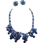 Multi -Blues Faceted Crystal Dangle Beaded Necklace & Earring Set