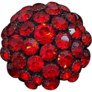 Warner 3-D Round Domed Ruby Red Rhinestones Black Metal Brooch
