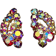 Sparkling Red Aurora Borealis Rhinestones Clip On Earrings