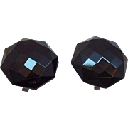 Vintage Octagon Geometric Shaped Faceted Black Glass Clip on Earrings