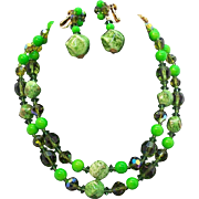 Vivid Green Vendome Beaded Double Strand Necklace & Dangle Earring Set Circa 1950's