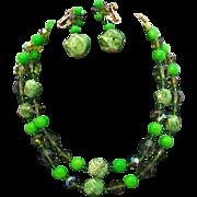 Vivid Green Vendome Beaded Double Strand Necklace & Dangle Earring Set Circa 1950's