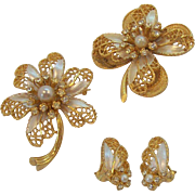Vintage BSK  Enameled Rhinestone Flower Brooches Earring Set