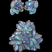 Vintage Blue Ice Rhinestones  Enameled Brooch & Earring Set