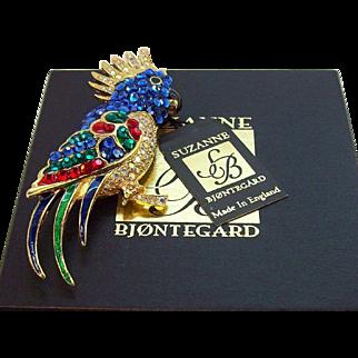 Suzanne Bjontegard Vibrant Blue Rhinestone Parrot Brooch MIB  MWTs