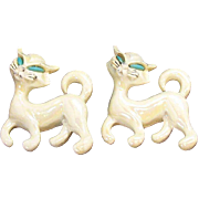 Adorable Pair of White Iridescent Enameled Siamese Cat Scatter Pins