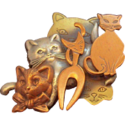 3-Dimensional Collage Style Group of Tri Color Metal Cats Brooch