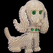 Gerrys Enameled Dog Pin w Green Rhinestone Eyes & Collar