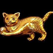 Regal 3-Dimensional Cat Playing w Ball Brooch  Goldtone Metal & Imitation Pearl