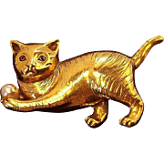 Regal 3-Dimensional Cat Playing w Ball Brooch  Goldtone Metal & Imitation Pearl