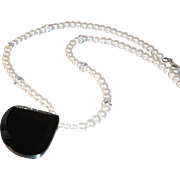 Carolee Imitation Pearl Choker  Rhinestone Spacers & Geometric Black Glass Pendant
