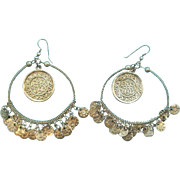 Vintage Gypsy Boho Hoop Dangle Pierced Earrings Silvertone Metal