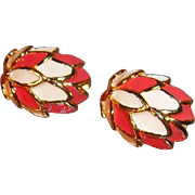 3-Dimensional Salmon Pink and Creme Enameled Goldtone Metal Clip On Earrings