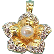 Elegant 3-D Flower Pendant with Clear Rhinestones & Imitation Pearl
