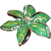 Bright Green and Yellow Enameled Flower Brooch with Rhinestones