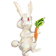 Adorable White Iridescent Enameled Bunny Rabbit Holding a Carrot Pin