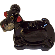 Adorable Black Poodle Ceramic Ash Tray 1950's