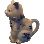 Charming Blue & White Cat Creamer  Blue Bow & Blue Flower Designs  1950's