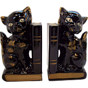 Delightful Pair Of  Standing Black Cat  Book Ends  circa 1950's