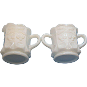 White Milk Glass Cherries Design Sugar & Creamer Set Westmoreland Circa 1950's