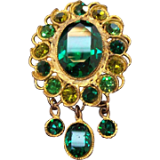 Stunning Emerald Green & Olive Green Rhinestones Dangle Brooch