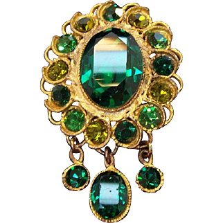 Stunning Emerald Green & Olive Green Rhinestones Dangle Brooch