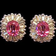 Glamorous 3-Dimensional  Pink & Clear Rhinestone Clip on Earrings
