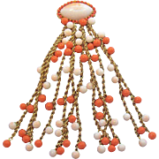 Vintage Huge Coral Colored  Milk Glass White Beaded Dangle Brooch Circa 1950s