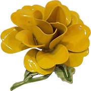 Large 3-Dimensional Yellow Orange Enameled Rose Brooch
