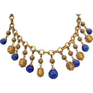 Miriam Haskell Goldtone Metal Blue Glass Drops Dangle Necklace