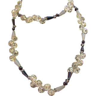 Elegant Long Black, Opalescent, & Clear Crackle Glass Beaded Necklace