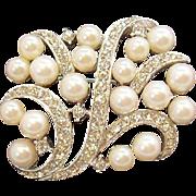 Chic Silvertone Metal  Imitation Pearls & Clear Rhinestones Pin