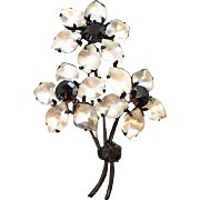 Vintage Flower Bouquet Brooch Clear Satin Glass Stones & Black Glass Accents