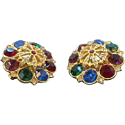 Huge Bold 3-D Rich Jewel Tone Rhinestone Clip on Earrings  Circa  1980's