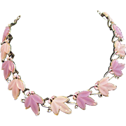 Lilac & Lavender Thermoset Plastic Leaves Choker Necklace circa 1950's