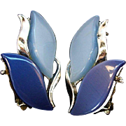 Dark Blue & Light Blue Moonglow Lucite Leaf Shaped Clip on Earrings