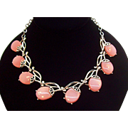 Vintage Pink Moon Glow Lucite Choker Necklace
