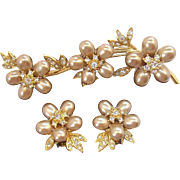 Nolan Miller Champagne Imitation Oval Pearls & Rhinestones Floral Brooch & Earring Set