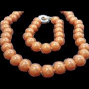 Carolee Peachy Orange Imitation Pearls Necklace & Bracelet Set