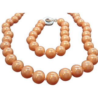 Vintage Carolee Peachy Orange Imitation Pearls Necklace & Bracelet Set