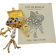 Vintage Edgar Berebi The Treasure Multi Colored Rhinestone Treasure Chest Brooch