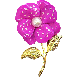 Pink Polka Dot Enameled 3-D Flower Brooch w Imitation Pearl Accent