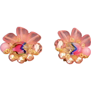 Vintage Lucite & Imitation Pearls Clip on Earrings  Germany Circa  1950's