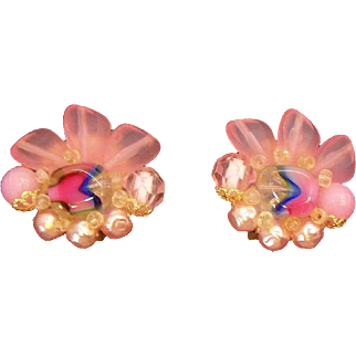 Spring Pink Lucite & Imitation Pearls Clip on Earrings  Germany Circa  1950's