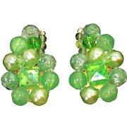Vintage Green Lucite & Imitation Pearls Beaded Earrings West Germany Circa 1950's