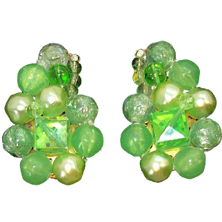 Spring Green Lucite & Imitation Pearls Beaded Earrings West Germany Circa 1950's