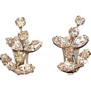 Vintage Weiss Abstract Design Clear  Rhinestone Clip on Earrings